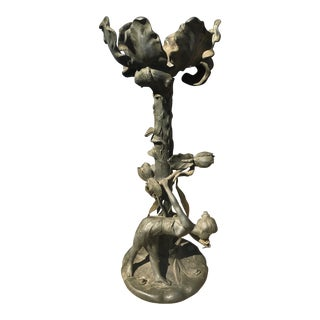 Early 20th Century Art Nouveau Figural Woman & Lily Pad Stand For Sale