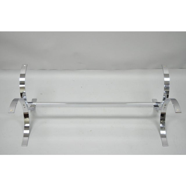 Mid 20th Century Mid-Century Modern Chrome Butterfly Base Glass Top Coffee Table Baughman Style For Sale - Image 5 of 12