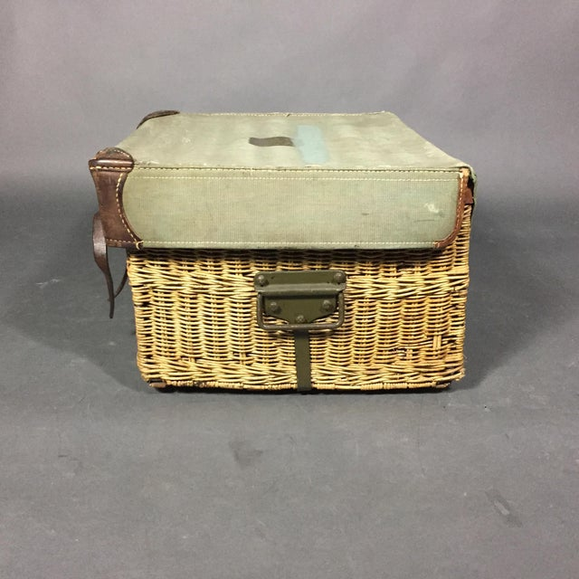 Military chic as only the Swiss can design. This wicker basket has a faded olive green canvas top with contrast stitching,...