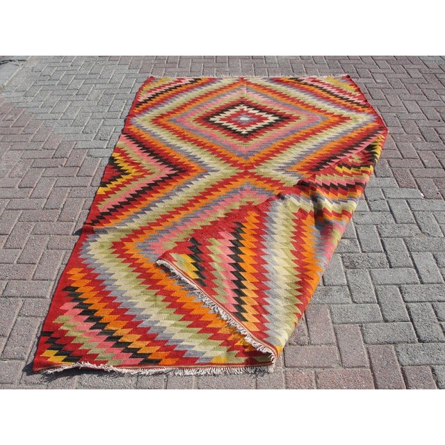 Vintage Turkish Kilim Rug - 5′5″ × 8′7″ For Sale - Image 11 of 11