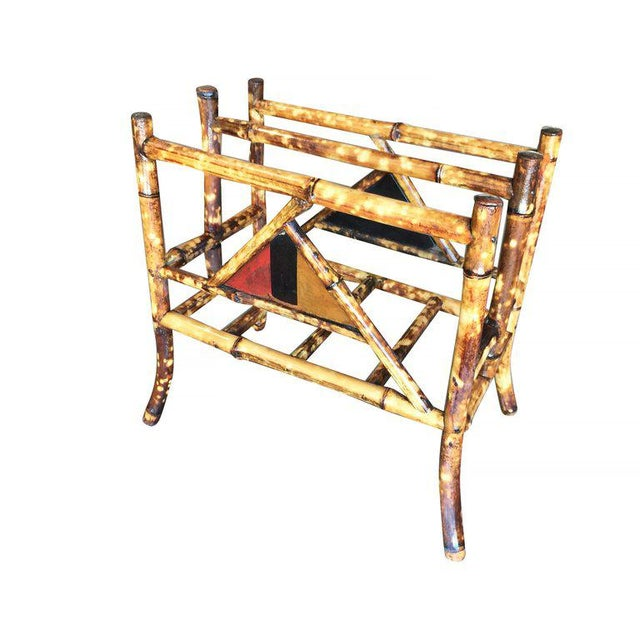 Restored Tiger Bamboo Magazine Rack With Divider - Image 2 of 6