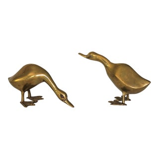 Decorative Brass Ducks - a Pair For Sale