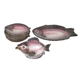 Italian Glazed Ceramic Fish Service Set W/ Platter, Plates & Sauce Boat-Set of 10 For Sale
