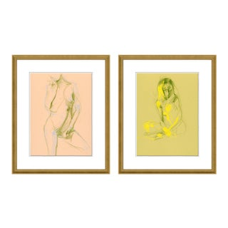 Figure 1& 3 Diptych by David Orrin Smith in Gold Frame, Small Art Print For Sale