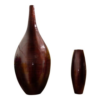 Sang De Bouef Mid-Century Bamboo Vessels - A Pair