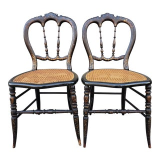Victorian Hand Painted Paper Mache Caned Side Chairs-A Pair For Sale