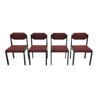Set of 4 Designer Modernist Bulo Burgundy Dining Side Chairs For Sale