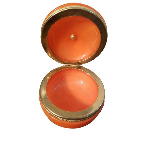 1940s Orange Opaline Trinket Box with Brass Finial For Sale - Image 4 of 6