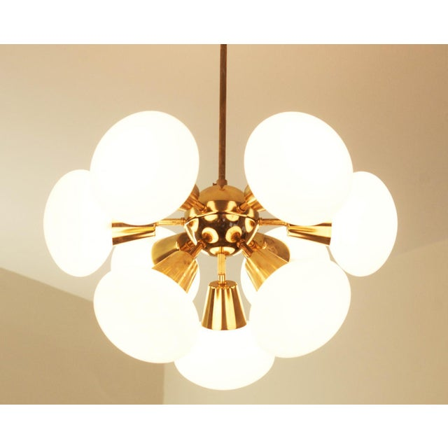 Mid-Century Modern Mid-Century Sputnik Frosted Glass Chandelier, 1960s For Sale - Image 3 of 10
