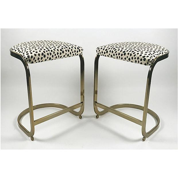 Hollywood Regency Milo Baughman Style Brass Cantilever Stools - A Pair For Sale - Image 3 of 10