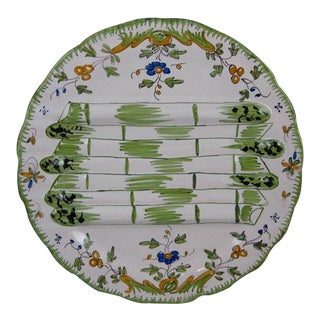 Georges Cabaré French Faïence Martres Tolosane Hand-Painted Asparagus Plate For Sale