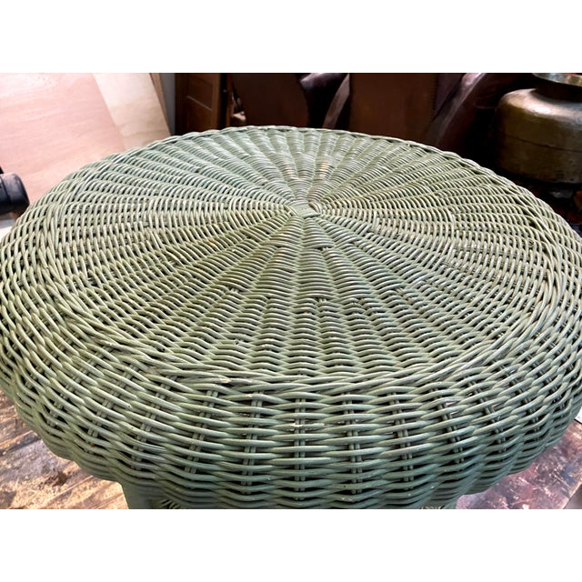 Vintage Light Green Painted Wicker Round Side Table For Sale - Image 4 of 13