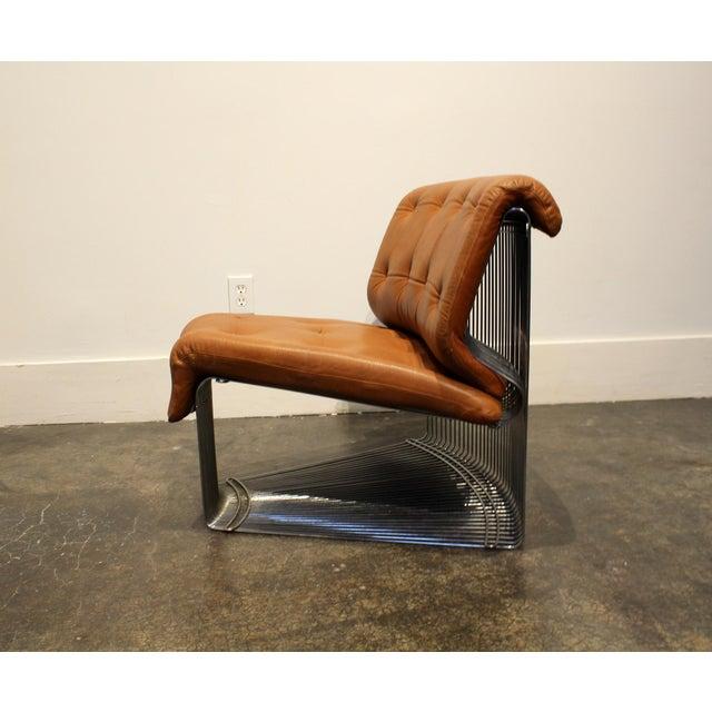 Metal Verner Panton for Fritz Hansen Pantonova Leather Lounge Chair and Ottoman For Sale - Image 7 of 13