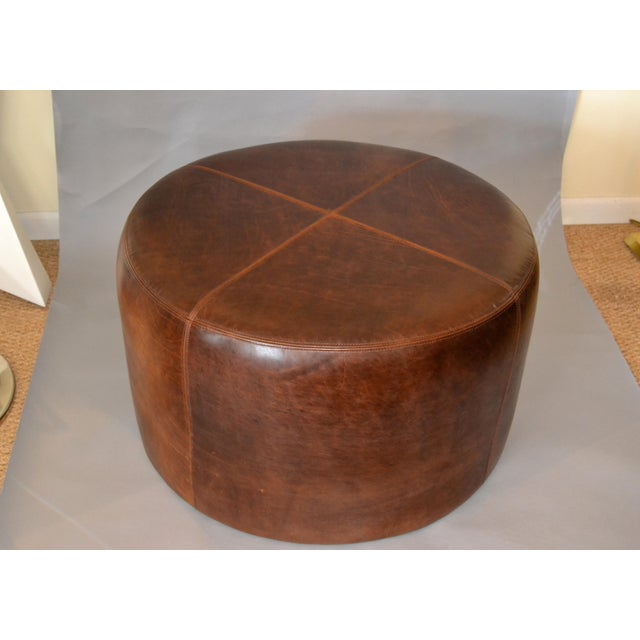 Modern Round Hand-Crafted Leather Ottoman, Pouf in Antique Leather, Contemporary For Sale - Image 13 of 13