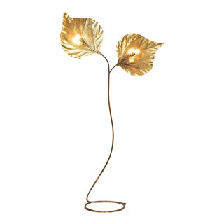 Huge Two Rhubarb Leaves Brass Floor Lamp by Tommaso Barbi For Sale