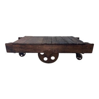 Vintage Wood Trolley Cart Coffee Table For Sale