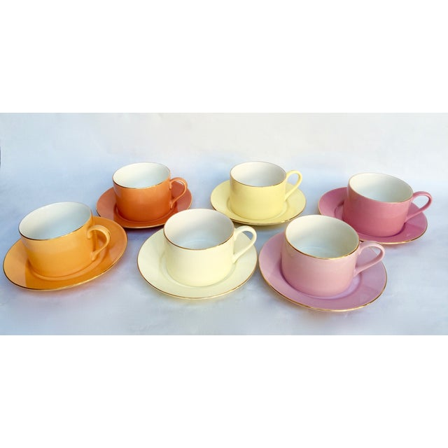 Sherbet-Hued Teacups & Saucers - Set of 6 - Image 2 of 10
