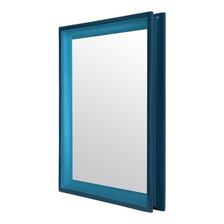 Large Rectangular Floating Mirror in Teal / Horizon Blue - Jeffrey Bilhuber for The Lacquer Company For Sale