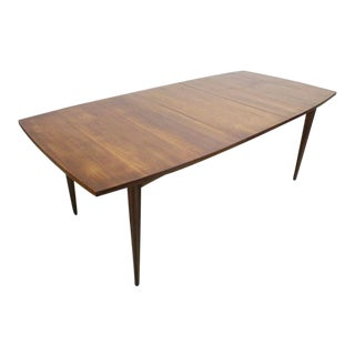 "Mid Century Modern Broyhill Sculptura Walnut Expanding Dining Table With 18"" Leaf For Sale"