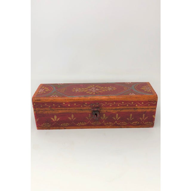 Indian Antique Indian Painted Wooden Boxes - Set of 3 For Sale - Image 3 of 7