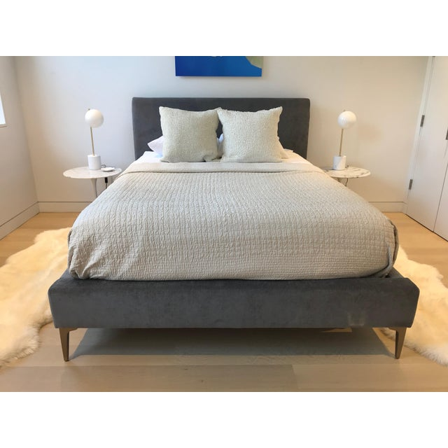 Contemporary West Elm Andes Deco Upholstered Queen Bed For Sale - Image 3 of 6