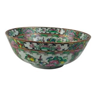 19th Century Chinese Rose Canton Rose Medallion Rose Famille Porcelain Bowl For Sale