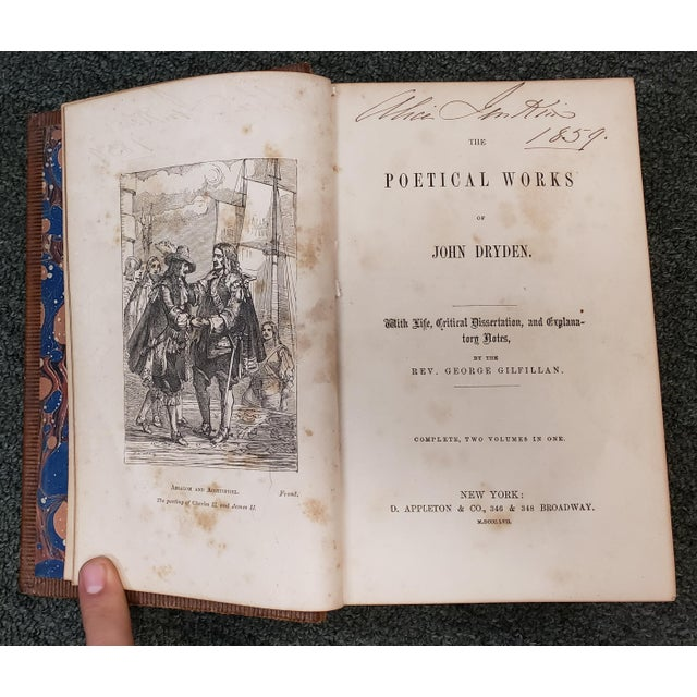 """""""The Poetical Works of John Dryden"""" Book by Rev. George Gilfillan (1857) For Sale In New Orleans - Image 6 of 10"""