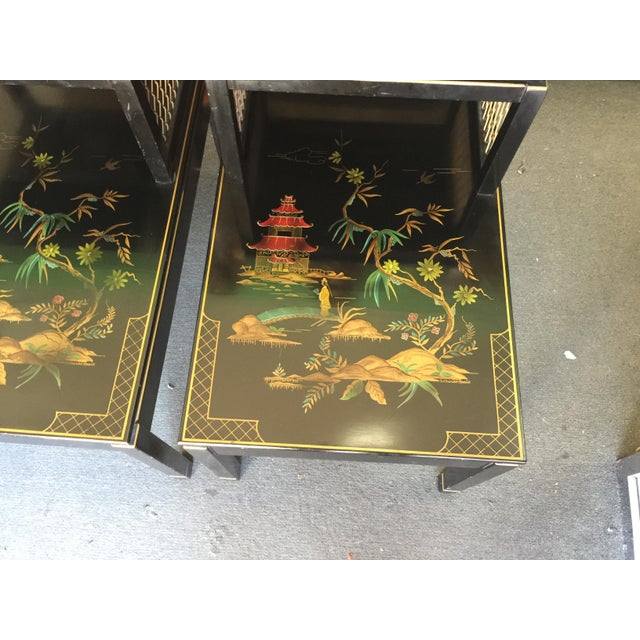 Asian Chinoiserie Signed Katherine Henick Side Table - A Pair For Sale - Image 3 of 9