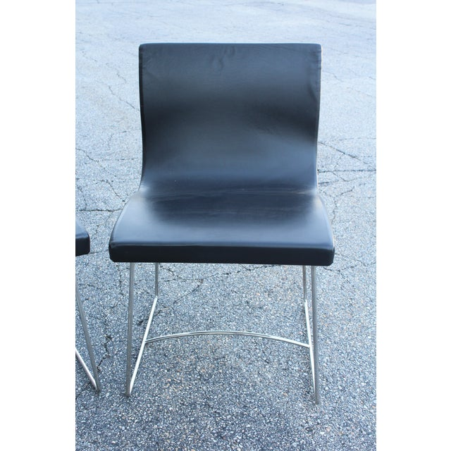 French 20th Century French Leather Side Chairs - a Pair For Sale - Image 3 of 5