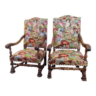 Modern Floral Kilim Upholstered Chairs- A Pair For Sale