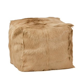 Taupe Fur Square Pouf For Sale