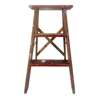1930s Farmhouse Rustic Kitchen Step Ladder For Sale