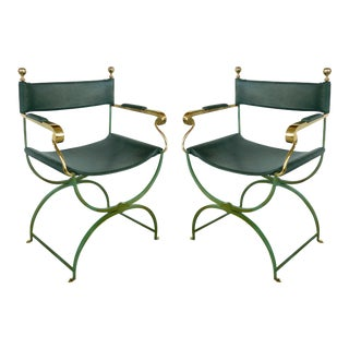 Brass Director's Chairs by Valenti Spain - A Pair For Sale