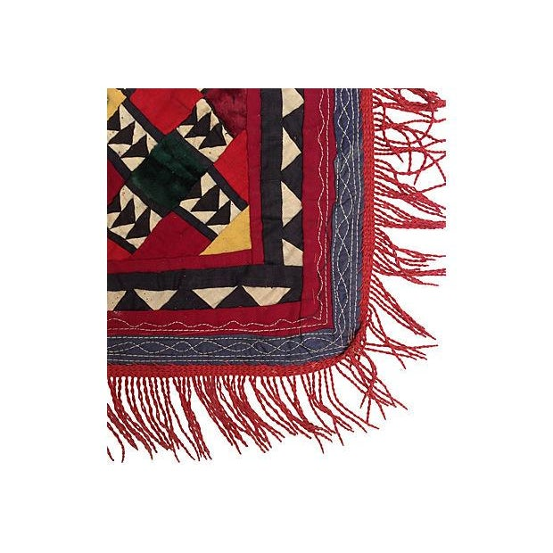 Boho Chic Patchwork Turkish Fringe Textile For Sale - Image 3 of 4