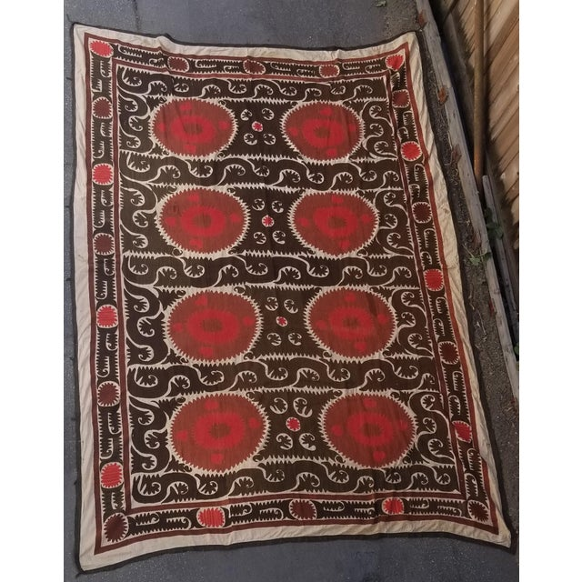 Vintage Hand Embroidered Suzani Bed Cover 7x11ft For Sale In Los Angeles - Image 6 of 6