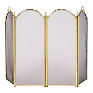 Vintage French Neoclassical Brass Fire Screen For Sale