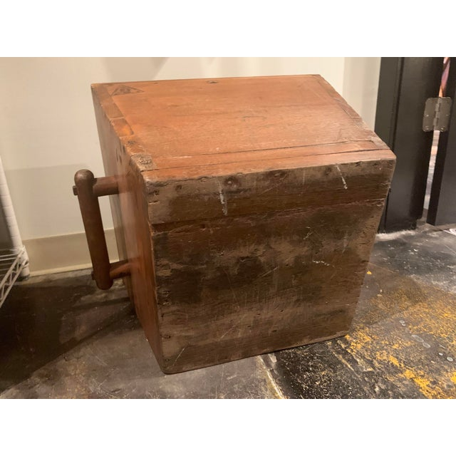 Antique Wooden Box With Handles For Sale - Image 12 of 13