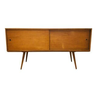 Paul McCobb Planner Group Sideboard Cabinet on Bench Coffee Table - Mid Century Modern Walnut Sliding Door Credenza Storage Chest For Sale