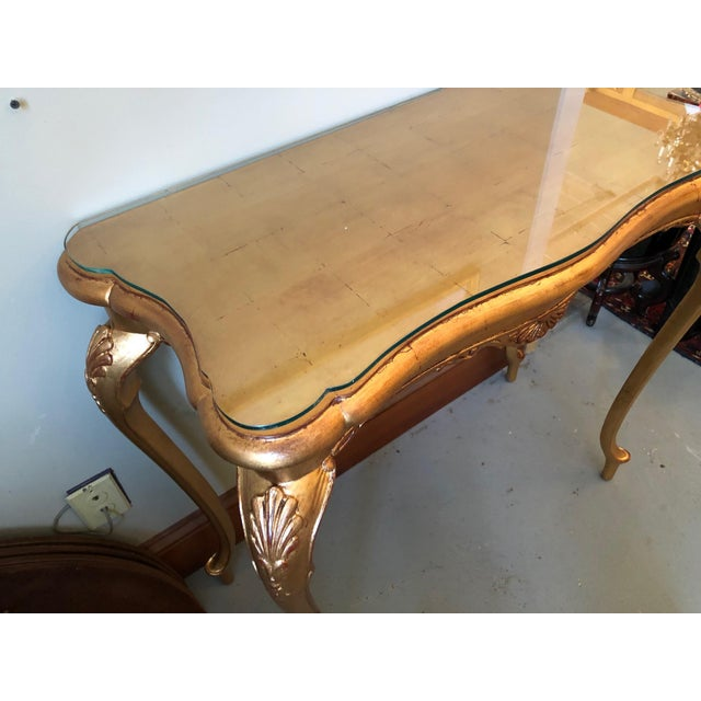French 1900s French Gilt Leaf Turn of the Century Console Table For Sale - Image 3 of 12