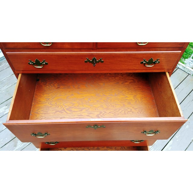Wood 1950s Traditional Virginia Craftsmen Reproduction Solid Cherry Tall Chest of 6 Drawers For Sale - Image 7 of 13