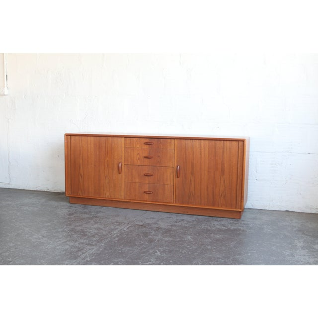 Teak 1950s Mid-Century Modern Dyrlund Credenza With Tambour Doors For Sale - Image 7 of 8