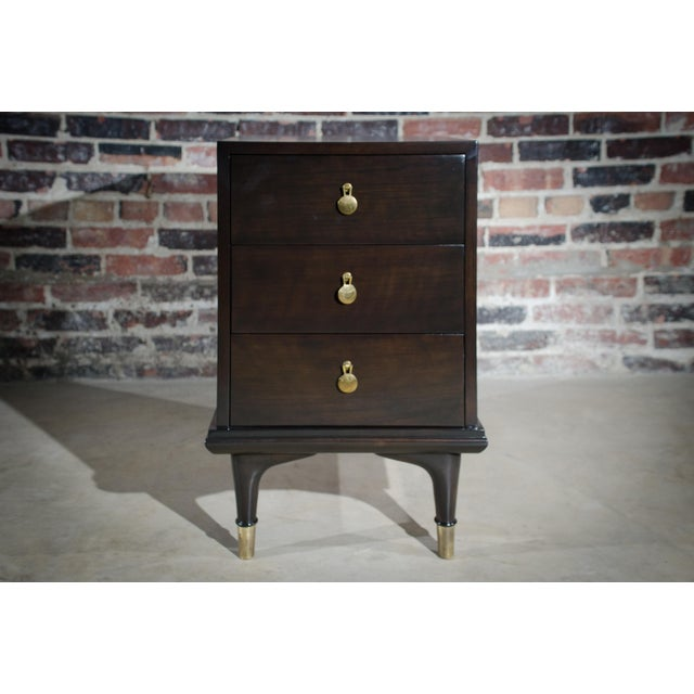 Cherry Wood Espresso Stained 3 Drawer Nightstand by Renzo Rutili for Johnson Furniture Company For Sale - Image 7 of 7