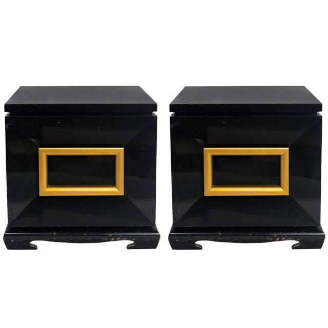 Pair of James Mont Style Chunky End Tables For Sale