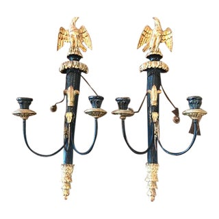 1980s Vintage Italian Gold Leaf and Black Eagle Candle Sconces - a Pair For Sale