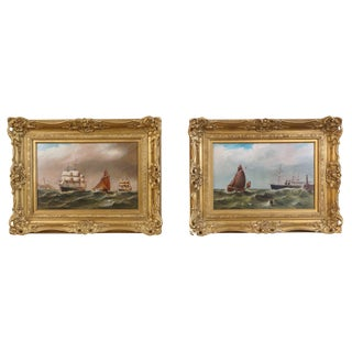 """Late 19th Century Pair of Oils on Board Seascapes """"Rough Seas"""" Attributed to William Broome For Sale"""