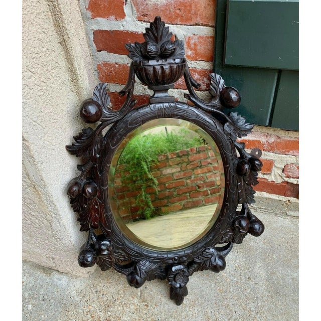 Direct from England Another lovely antique English oak frame wall mirror Very ornate, dimensional fruit, floral and...