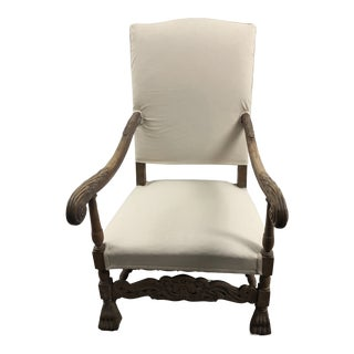 Early 21st Century Vintage Carved Arm Side Chair For Sale