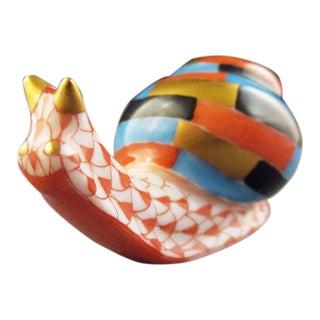 Herend Porcelain Snail Raspberry Fishnet Figurine For Sale