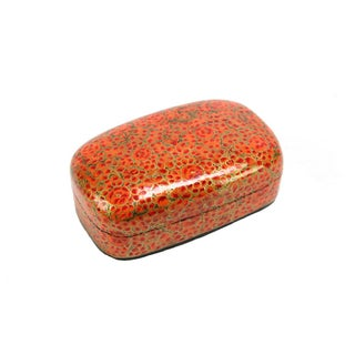 Hand Painted Amber Kashmiri Accent Box For Sale