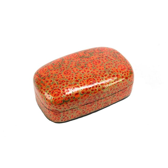 Hand Painted Amber Kashmiri Accent Box - Image 1 of 3